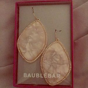 Baublebar white and gold earrings